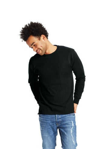 Hanes Authentic-T Long-Sleeve T-Shirt with Pocket - 5596